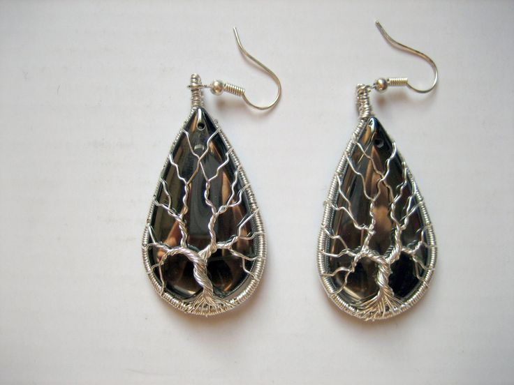 Hematite Tree of Life Wire-Wrapped Earrings by TwistedWireCraft on Etsy