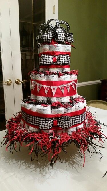 Diaper Cake Black White Gray Red And Houndstooth Alabama Flavor Shower Baby