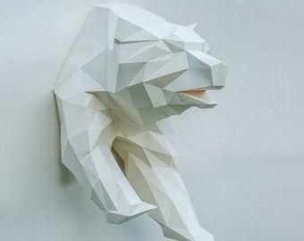 Toro de papel Toro poligonal Toro cabeza trofeo por CeladonCraft