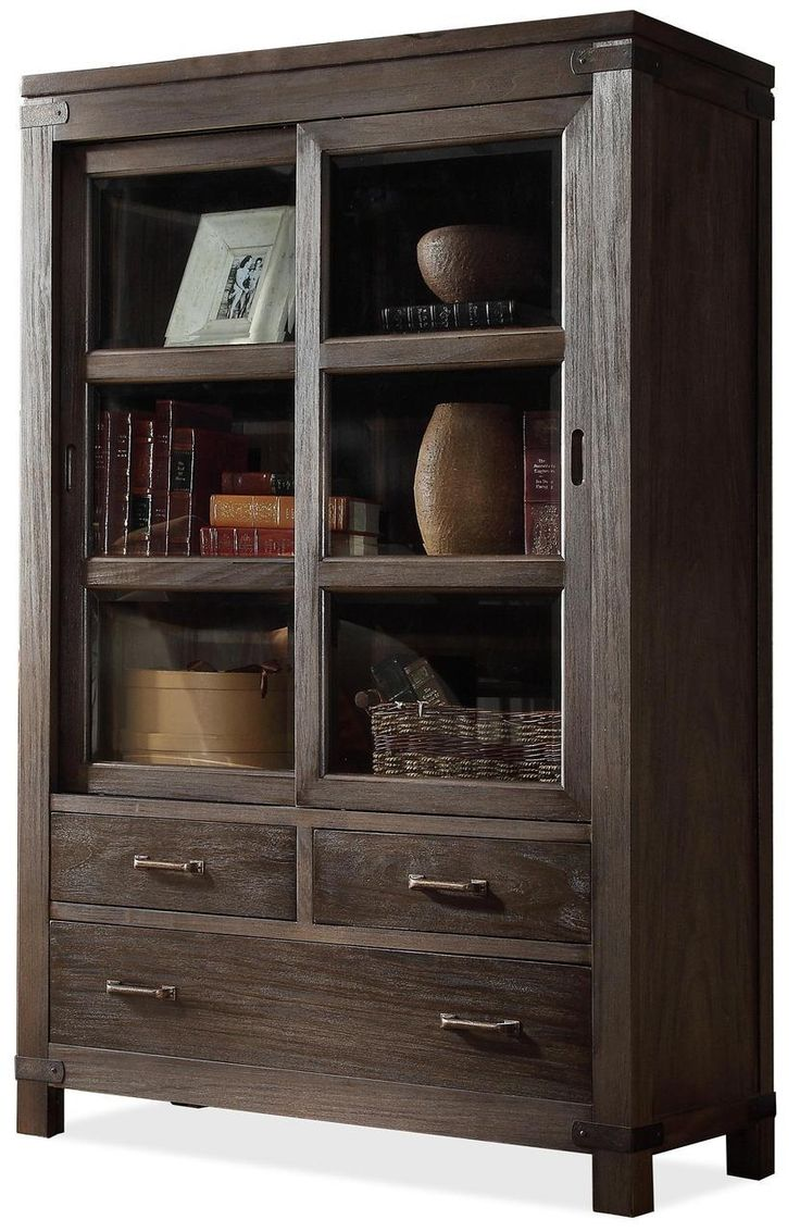 Riverside Furniture Promenade Sliding Door Bookcase - Carolina Discount  Gallery