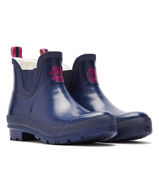Navy Welli Bob Rain Boot - Women