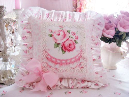 Shabby Chic Woodrose Pillowcases : 375 best Beautiful Pillows images on Pinterest Cushions, Shabby chic pillows and Pillow talk