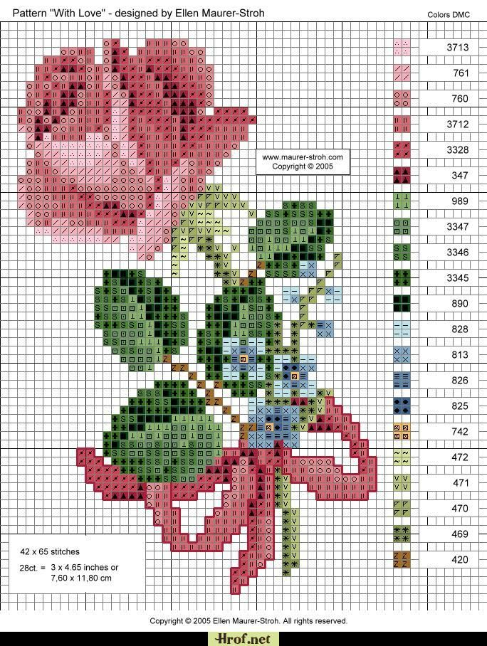 Point de Croix : Patron Rose 10 dans Fleurs 080127110441178861653074