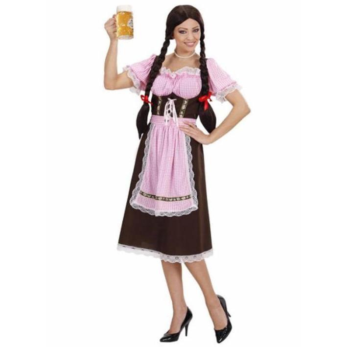 Disfraz de bávara vichy rosa para mujer