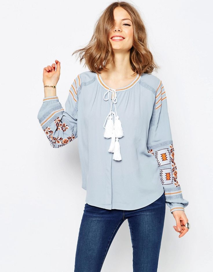 ASOS+Ultimate+Embroidered+peasant+Blouse+in+Chambray