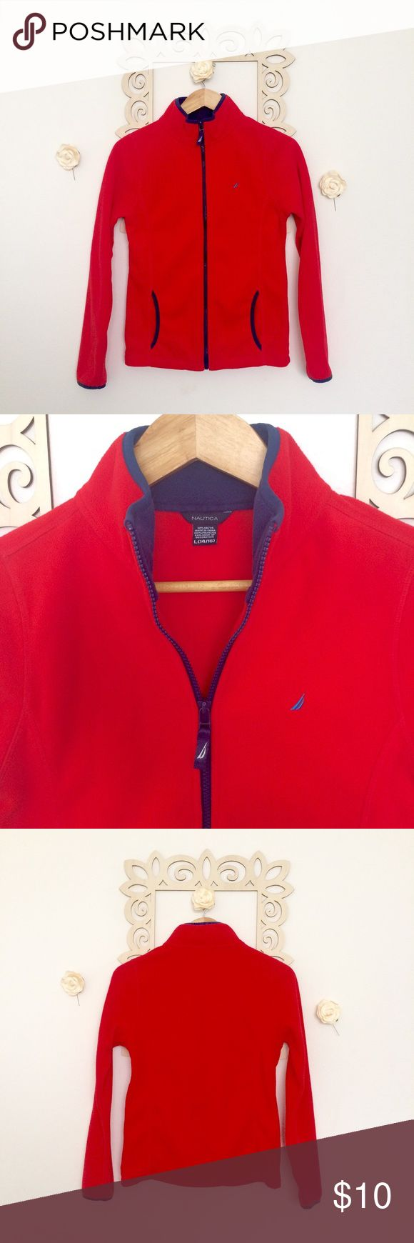 Nautica Fleece Jacket Red Orange with Navy Blue trim color fleece zip up jacket by Nautica. This is a girls size 14/16, but can fit as a small in women's size. Excellent condition, very warm. Pet free and smoke free home. Nautica Jackets & Coats
