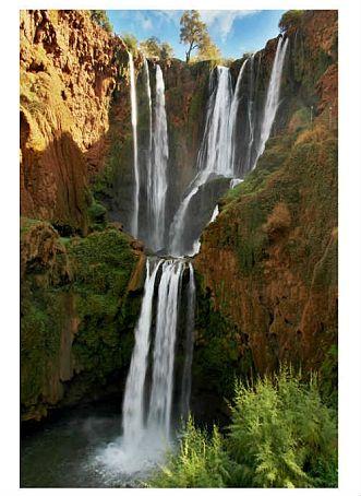 Categorie: Landschappen Marokko waterval Ouzoud 6  Prijs per kaart vanaf: € 2,65 excl. porto Wenskaart is geheel naar eigen wens aan te passen, tekst, figuur of foto. www.wenskaartenshop.droomcreaties.nl