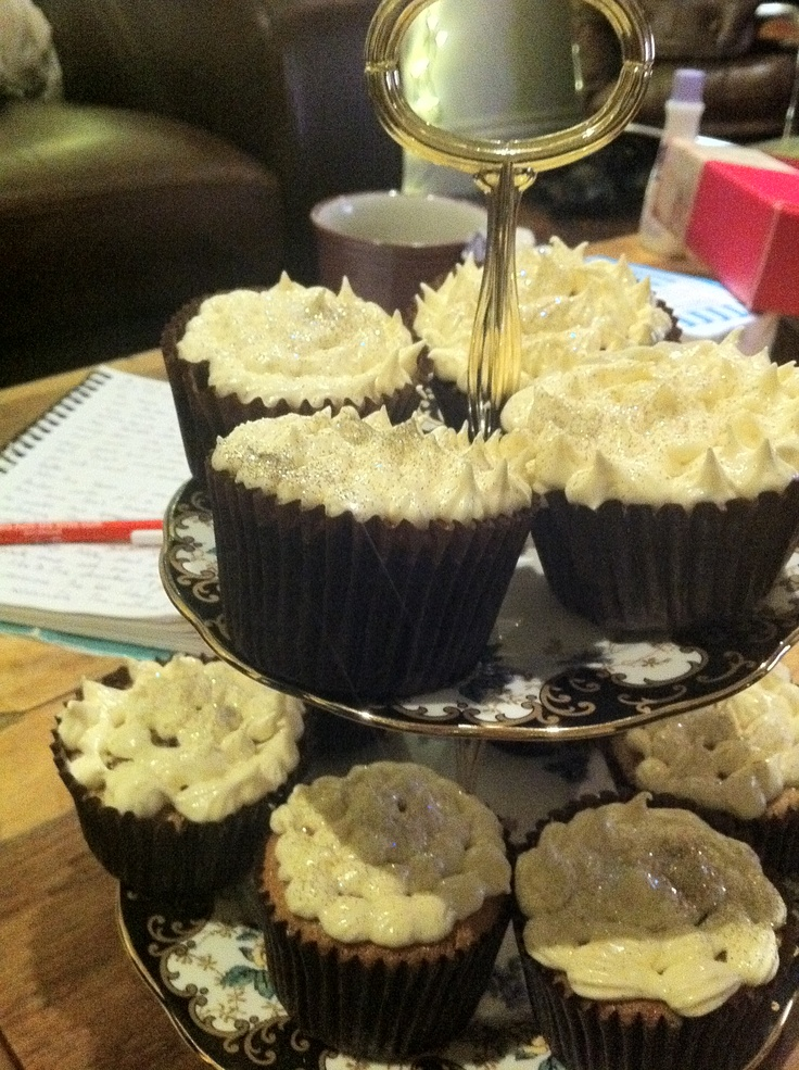 Drunken apple and cinnamon cupcakes with salted caramel icing