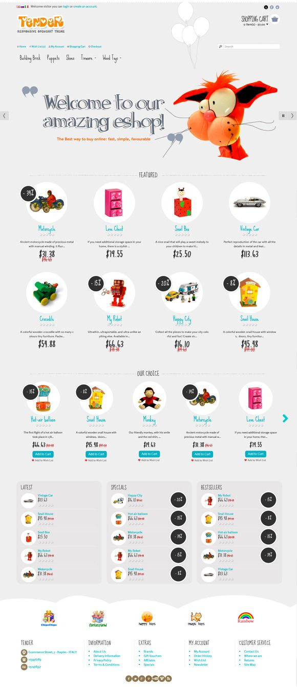 Tender OpenCart Responsive Theme by ThemeBooster.com on Creative Market