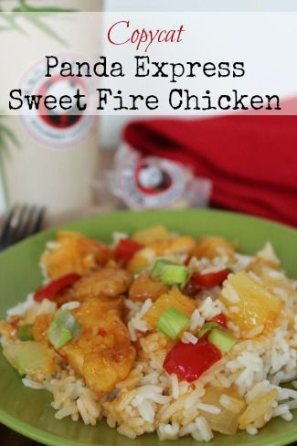 Copycat Panda Express Sweet Fire Chicken | Sauteed breaded chicken, peppers and onion coated in a sweet and tangy sauce with pineapple chunks and served over rice. If you have picky eaters in the family, give this recipe a try. The sweetness of the sauce might be just the right thing to get them to eat it!