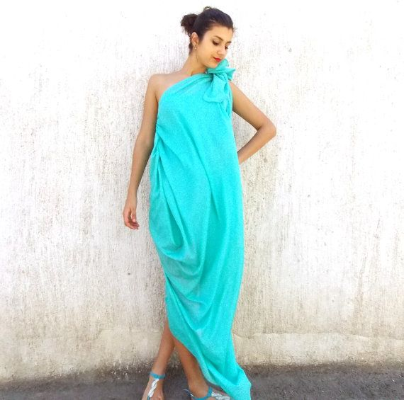 SUN SALE 25% OFF Emerald Plus Size Maxi Dress / Asymmetrical