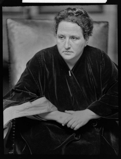 """Gertrude Stein"" born Feb. 3, 1874, Allegheny, Pennslyvania and died July 27, 1946, Neuilly-sur-France at age 72.  An American writer and poet.  Photo 1913, by Alvin Langdon Coburn."