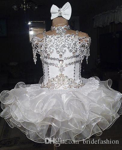 White Lace Beaded Halter Short Sleeve Bow Organza Ball Gown Cupcake Toddler Little Girls Pageant Dresses Flower Girls For Weddings Glitz Pink Gowns Size 4 Dresses From Bridefashion, $69.35| Dhgate.Com