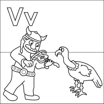Letter V Coloring Page Viking Violin Vulture Color It In Online