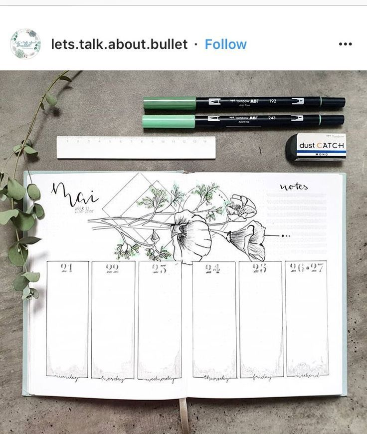 34 wöchentliche Spreads für Ihr Bullet Journal – Natalie Linda