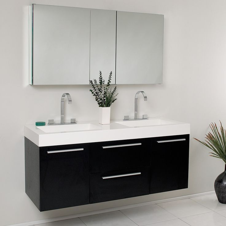 There is always great design in simplicity. Double the greatness with this double sink vanity with accompanying medicine cabinet. To ease any storage worries, beautiful mirrored medicine cabinet will