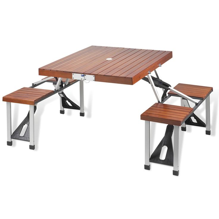 Attractive folding plastic picnic table with built