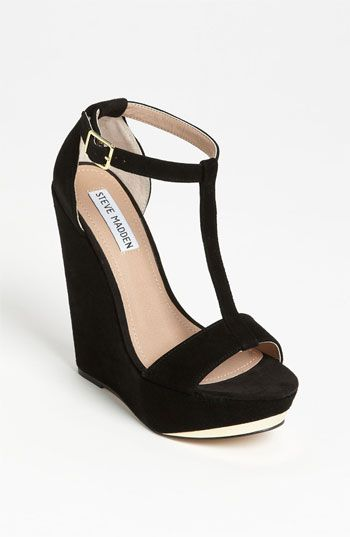 A classic T-strap sandal gets a boost from a metallic-sliced wedge. #Nordstrom #shoes #toppins