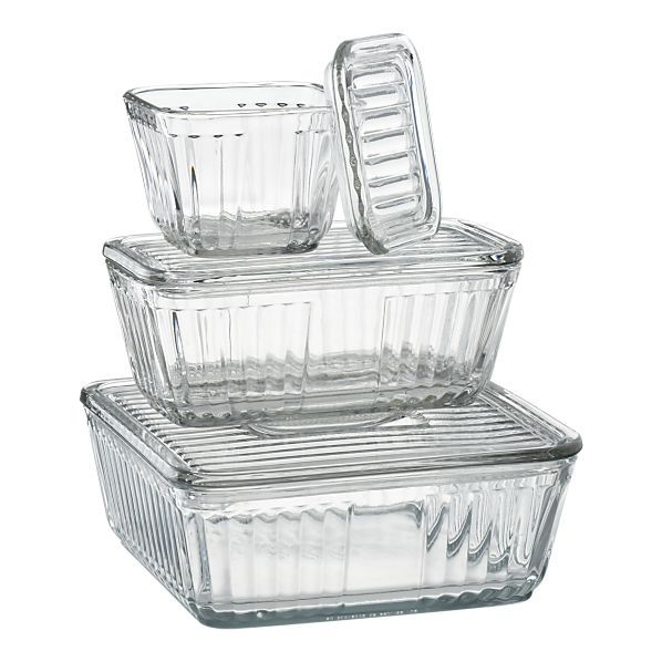 Banish plastic!  Go for these  crate & barrel glass fridge containers....have the LG & MD ones. Love them.