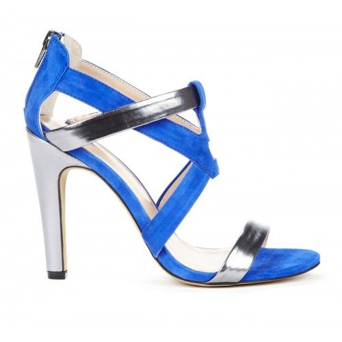 Dallas colorblock heel - Parrot Blue Pewter