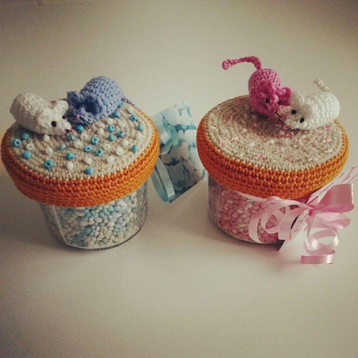 Roze en blauwe muisjes Gemaakt door Leontine van Engeland
