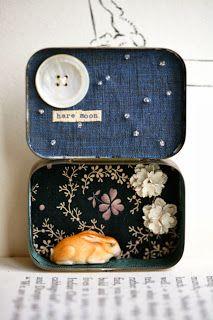 "Little Burrow Designs - ""Hare Moon"" Reworked Vintage items - Assemblage Art https://www.facebook.com/LittleBurrowDesigns"