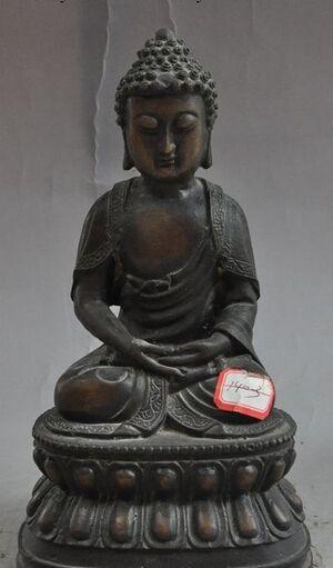 """free shipping 453 10"""" tibet buddhism fane pure bronze sakyamuni Tathagata buddha lotus base statue #Affiliate"""