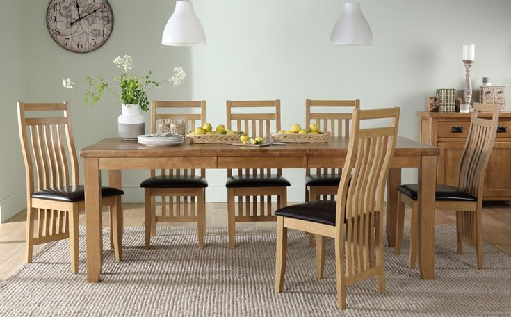Highbury Oak Extending Dining Table with 8 Bali Chairs (Brown Seat Pad) Only £669.99 | Furniture Choice