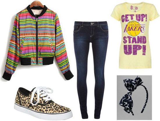 Outfit inspired by the Fresh Prince of Bel-Air: Laker's tee, multicolored jacket, skinny jeans, leopard sneakers, bow headband