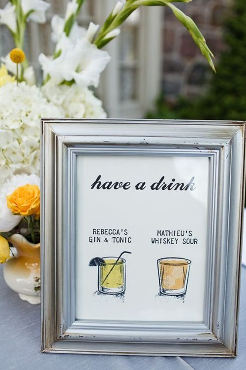Brides: Wedding Signature Cocktail Sign Ideas