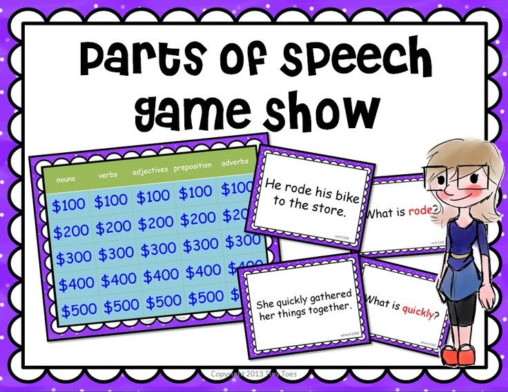 parts of speech game show    noun verb adjective adverb preposition