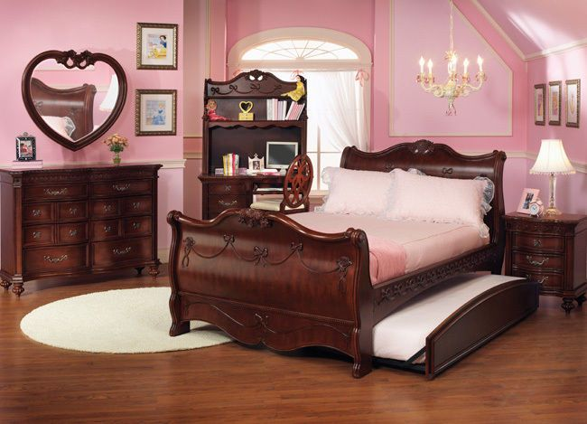 Disney Princess Girls Cherry 3 Piece Twin Sleigh Bed Bedroom Set