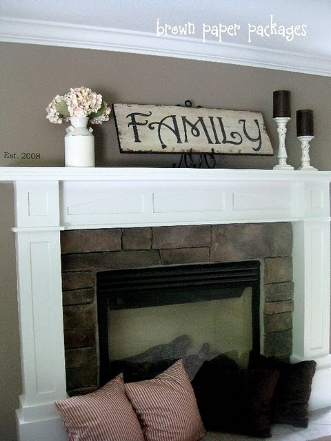 mantle: Wall Colors, Living Rooms, Decor Ideas, Brick Fireplaces Mantles Ideas, Mantels Ideas, Families Signs, Family Signs, Wooden Signs, Black Candles
