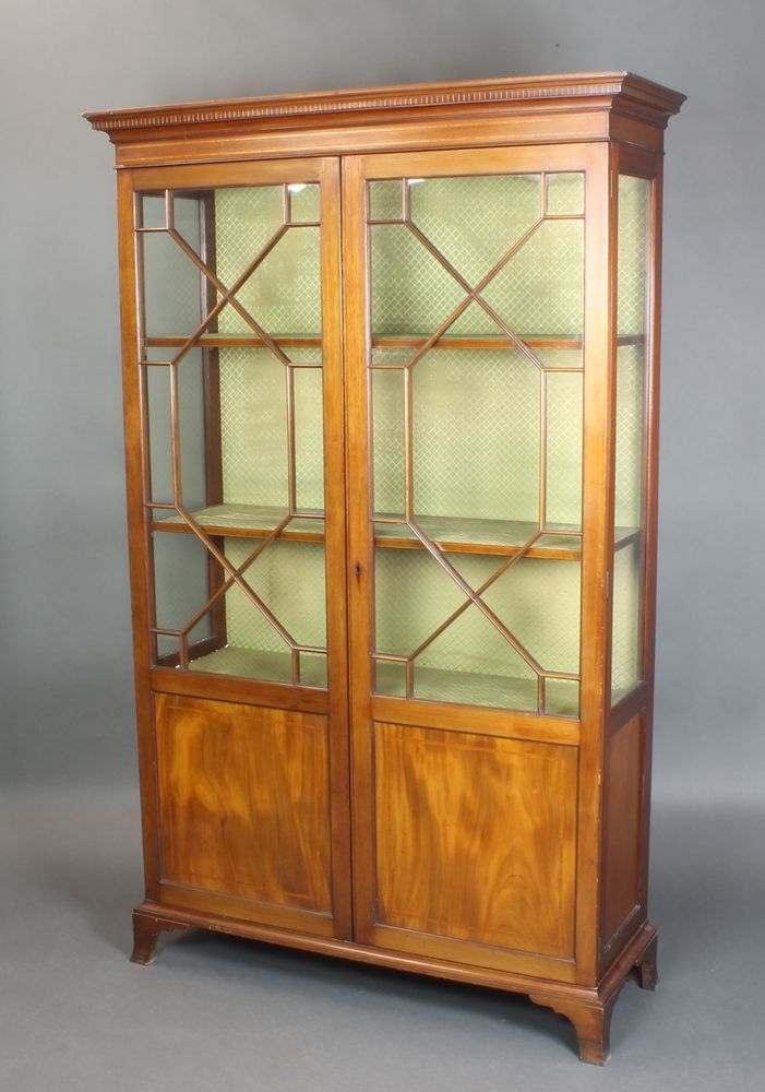 "LOT 873, An Edwardian inlaid mahogany display cabinet, fitted shelves enclosed by astragal glazed doors, raised on bracket feet 78""h x 48""w x 17""d SOLD £320"