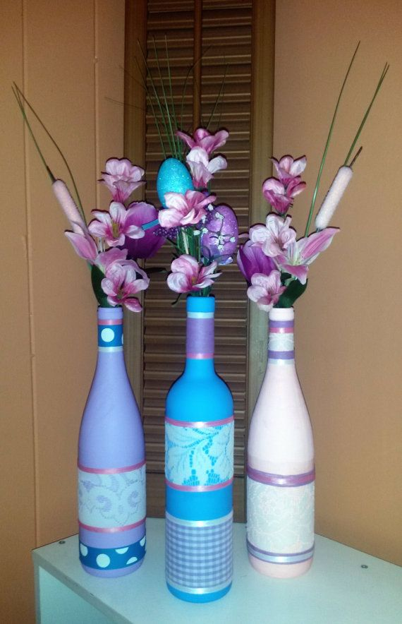 Adorable wine bottle Easter/spring centerpiece!!! at https://www.etsy.com/listing/225641786/beautiful-hand-painted-easterspring