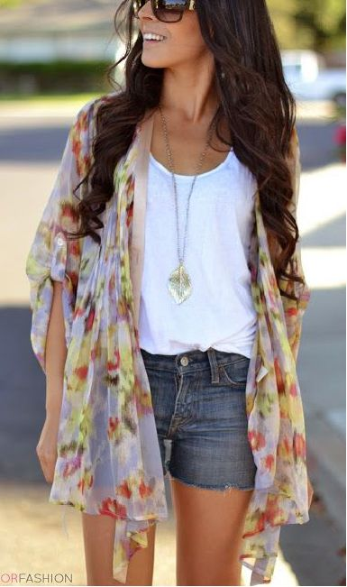 Spice up a plain tee and a plain pair of shorts with a colorful kimono cardigan.