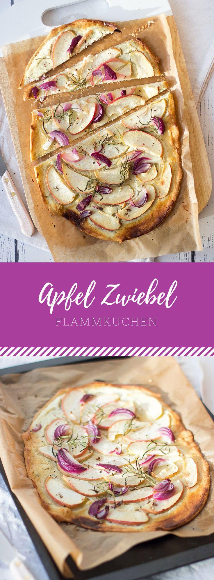 Ein leckeres Rezept für schnellen Apfel Zwiebel Flammkuchen! Musst du probieren!