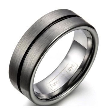 Men's Ring Silver & Black | The Lynchpin doesn't just hold it all together, but with a black groove pinstripe makes a stylish tungsten wedding band.