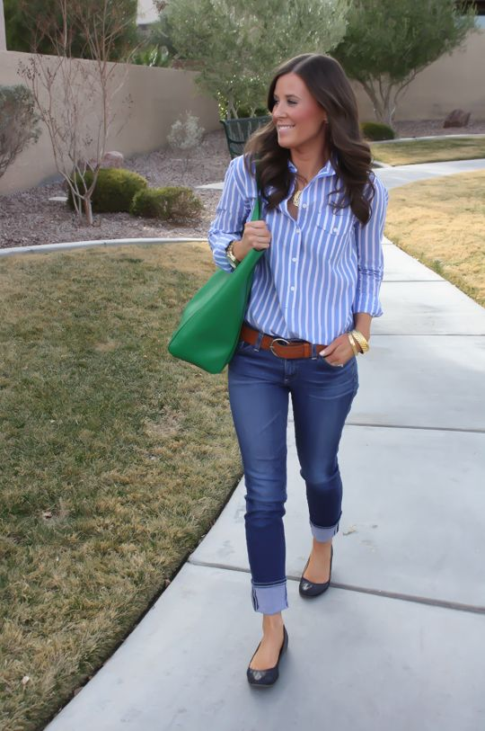 Use blue oxford shirt and roll up jeans...can add leopard wedges...need wide brown belt. Get a similar bag at www.stelladot.com/sarahsproat