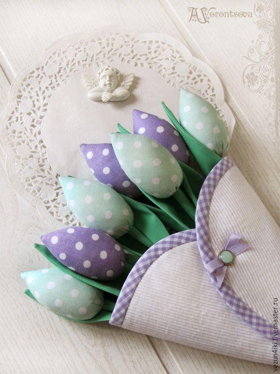 Купить Конверт с мятно-сиреневыми тюльпанами - мятный, сиреневый, тюльпаны, тюльпаны тильда, тюльпаны из ткани