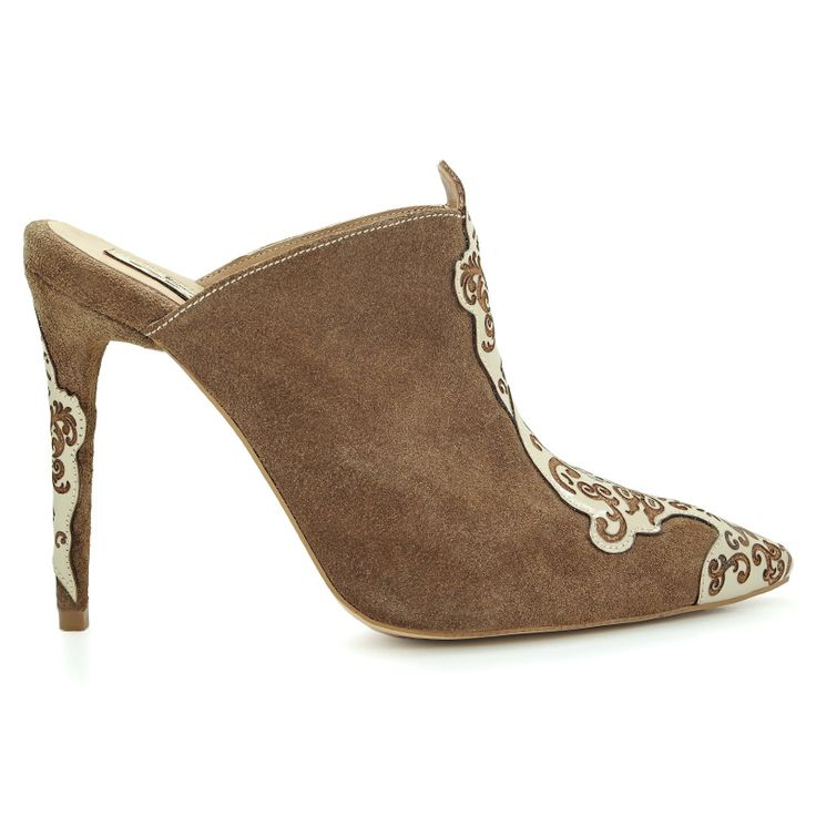 Stiletto high heel mules inspired by Islamic art. Made from natural leather…