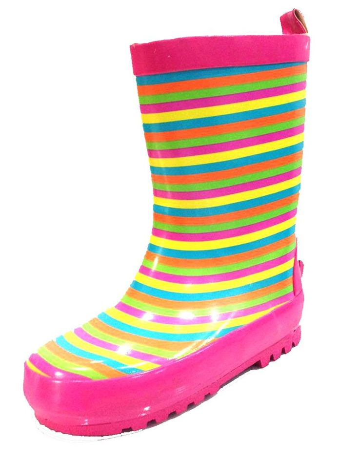 Amazon.com | Toddler and Little Kids Girls Striped Pink Rain Boots w/ Lining | Boots