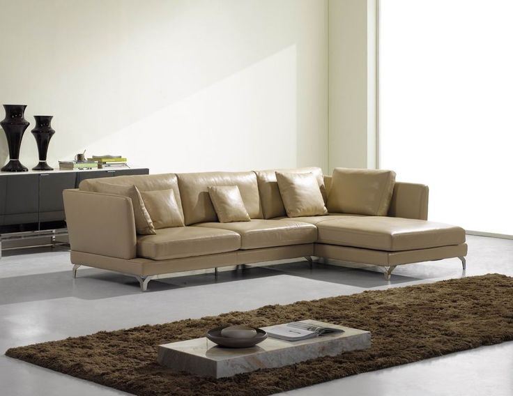 Furniture, Beige Leather Sofa With Metal Leg Base Combine With Gorgeous  Brown Fur Rug Beautify Minimalist Living Room Designs Leather C.