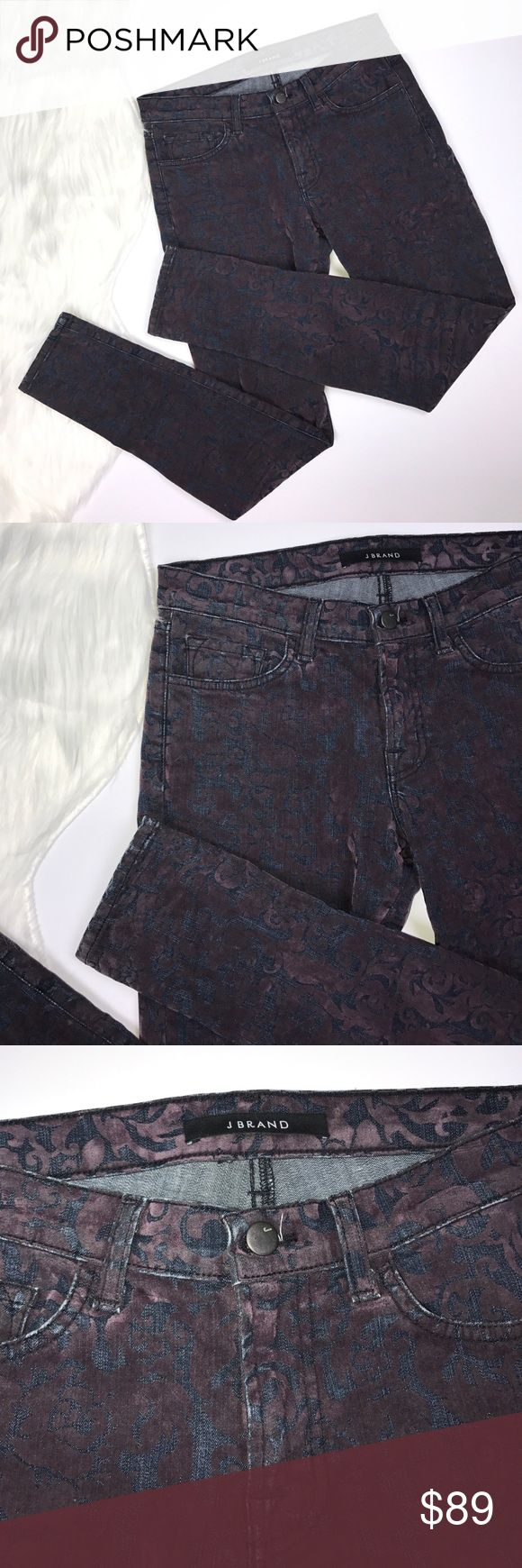 """J Brand Crushed Velvet Skinny Jeans. So gorgeous! In great condition. Crushed velvet in purple and blue jean material. Color is """"purple broca"""". Size 27. Skinny leg. J Brand for Barney's New York. J Brand Jeans Skinny"""
