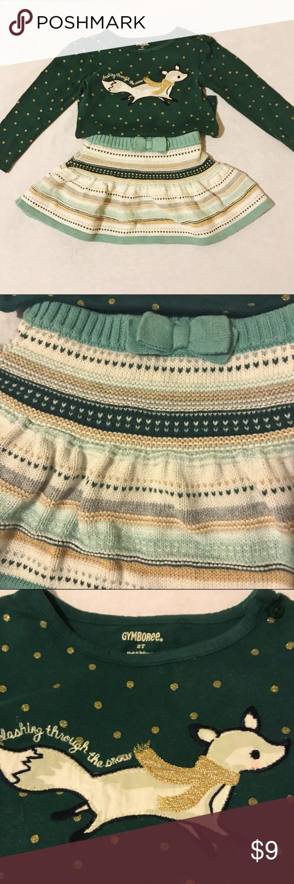 "Gymboree sweater skirt and top. Cute winter outfit in great condition. Forest green, gold and cream sweater skirt- heavy knit. Polka dot green and gold long sleeved top reads ""dashing through the snow"" above the fox. 2 available. Gymboree Matching Sets"