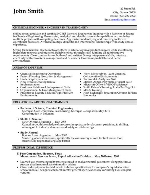 chemical engineering resume format