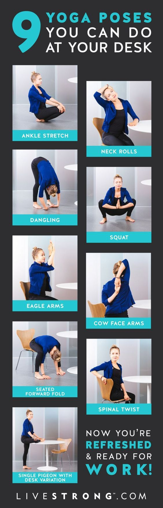 DownDog Diary Yoga Keeps you Young: 9 Yoga Poses You Can Do at Your Desk Right Now