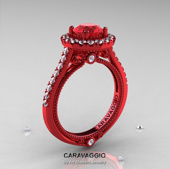 caravaggio 14k red gold 10 ct ruby diamond engagement ring wedding ring r621 14krgdr - Red Wedding Rings