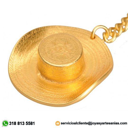 Llavero Sombrero Vueltiao baño en oro de 24k, #joyasprecolombinas
