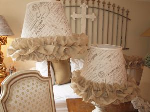 Refinished Lampshades with French Script with Burlap Ruffle